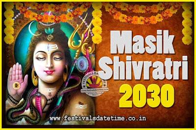 2030 Masik Shivaratri Pooja Vrat Date & Time, 2030 Masik Shivaratri Calendar