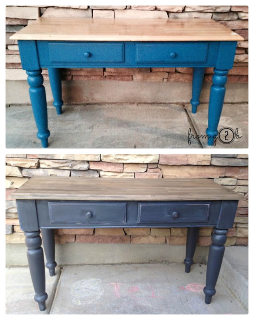 Before & After: Easy Driftwood Side Table Makeover with #Weatherwood + #ChalkPaint