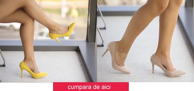 Pantofi galbeni, bej piele intoarsa ieftini de zi si pentru birou