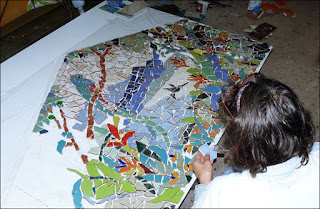 creating the costa rica mosaic on fiberglass mesh