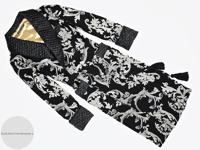 Men's luxury black silk dressing gown paisley morning lounge robe vintage quilted smoking jacket warm long