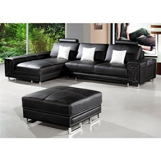 Sectional Sofa and Ottoman By TOSH Furniture (Black Leather)