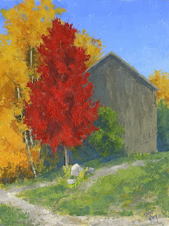 landscape painting rural barn autumn tree aspen