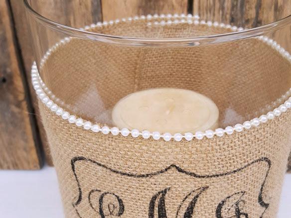 DIY Idea for Custom Wedding Gifts (Candle Holder with Burlap Monogram)