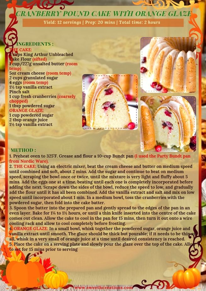 CRANBERRY POUND CAKE WITH ORANGE GLAZE RECIPE