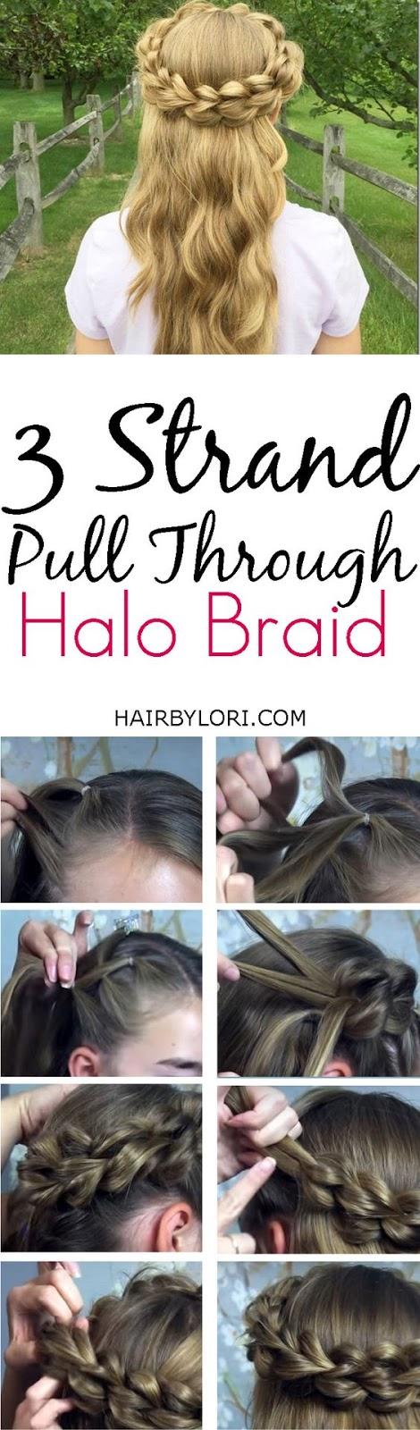 3 Strand Pull Through Halo Braid