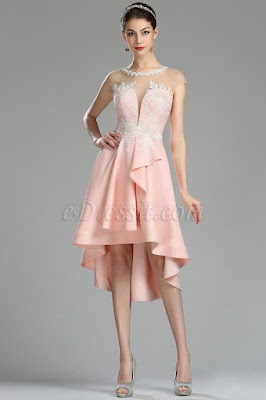 pink lace applique cocktail party dress