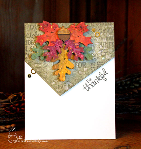 Be Thankful Leaf Card by Larissa Heskett | Fall-ing for You Stamp Set and Autumn Leaves Die Set by Newton's Nook Designs #newtonsnook #handmade