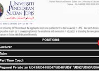 Jawatan Kosong di Universiti Pendidikan Sultan Idris - Pelbagai Jawatan