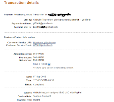 Payout paypal tapporo