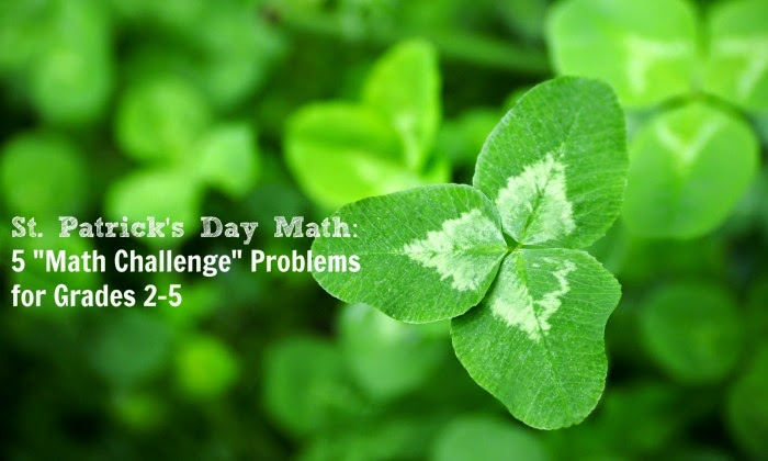 5 St Patrick Day Math Challenge Problems with a free printable