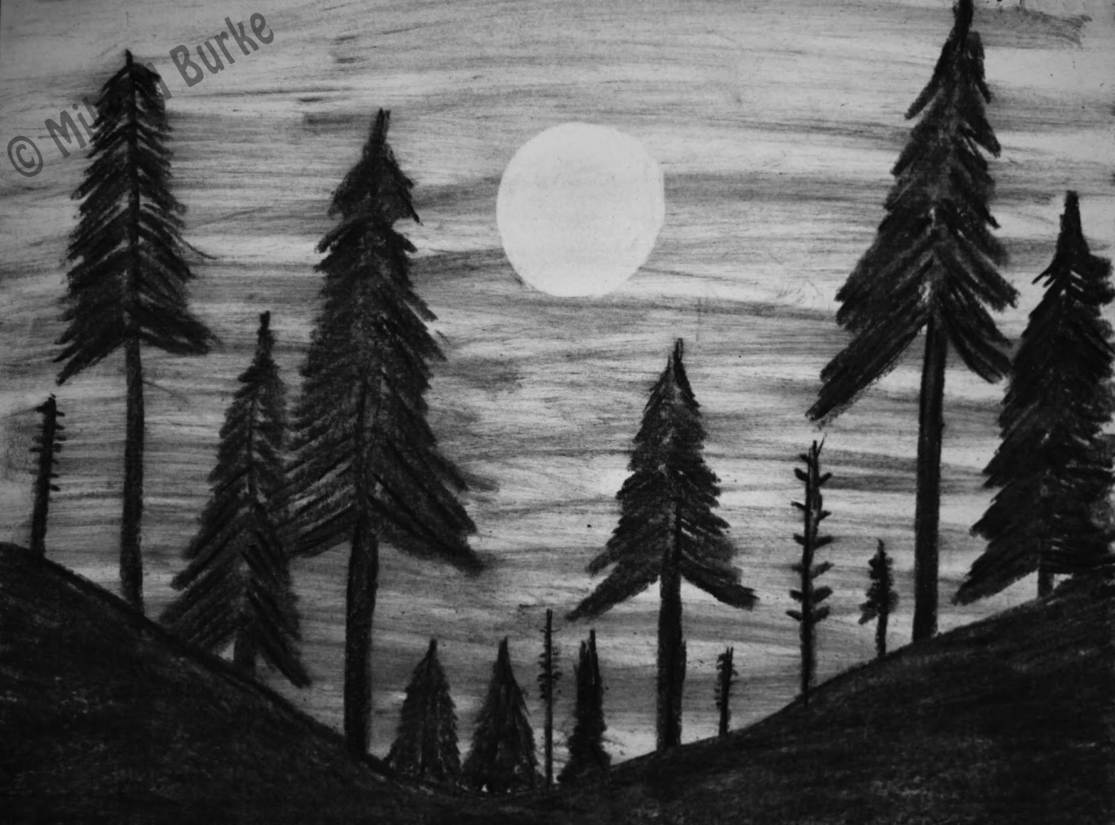 How To Draw and Shade A Simple Landscape For Beginners ... |Charcoal Drawings Of Landscapes