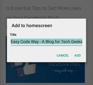 Add to homescreen - Chrome