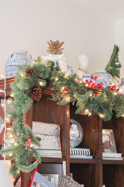 bookcase Christmas decor