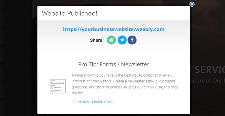 Mempublikasikan website Weebly
