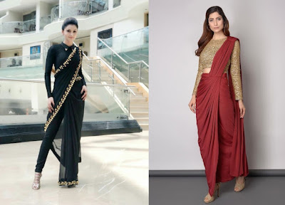 Pant sarees gives a mix of tradition with trend that makes an excellent engagement dress for the Indian bride-to-be.