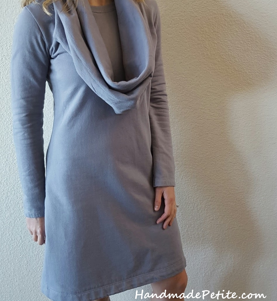 Handmade sweatshirt dress using Simplicity 2054 sewing pattern