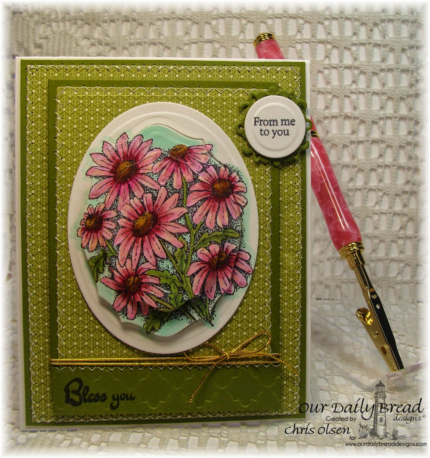 Our Daily Bread Designs, Life is a gift, Daisy, Mini Tag Sentiments, Elegant Ovals, ChiselinknMore, pens, designed by Chris Olsen