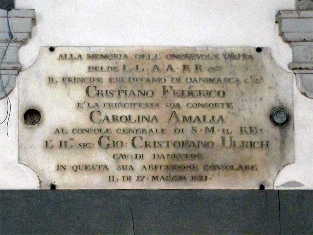Plaque remembering the visit of prince Christian Frederik and princess Caroline Amalie, Scali del Ponte di Marmo, Livorno