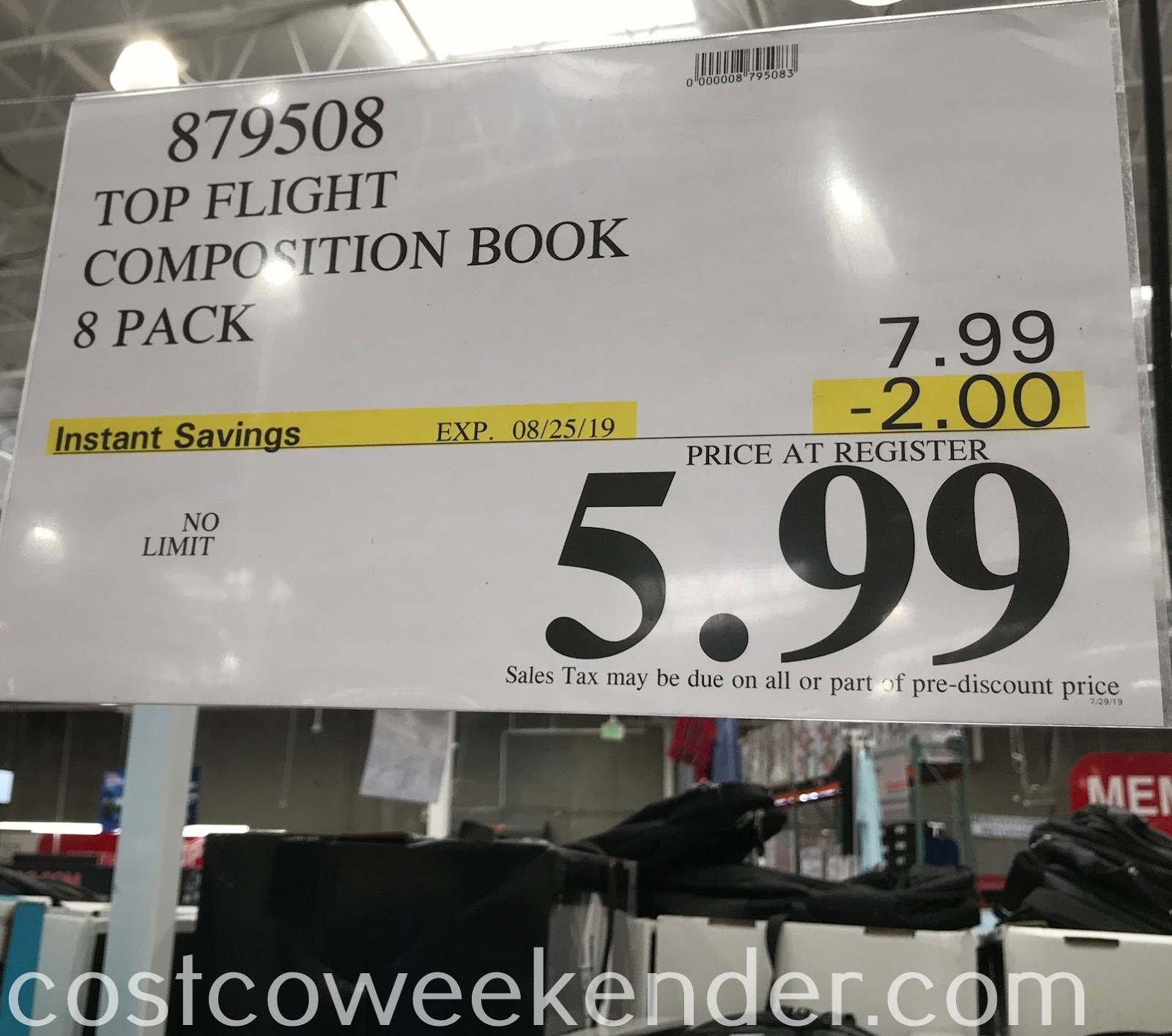 Deal for an 8 pack of Top Flight Composition Books at Costco