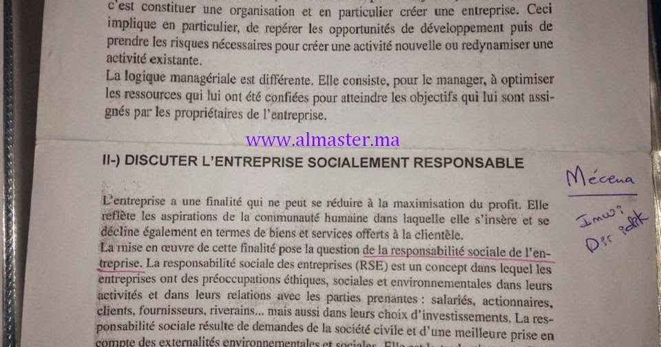 test  u00e9crit pour l u2019inscription au master  management