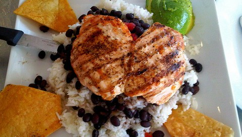 Chicken Breast with Cumin Rice and Black Beans