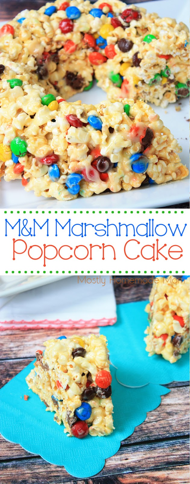 M&M Marshmallow Popcorn Cake with popcorn balls