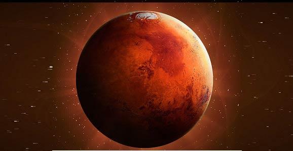 Ilustração do planeta Marte cheia de detalhes