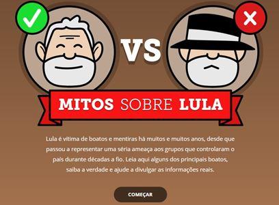 Clique na imagem e saiba sobre outros mitos, incluindo que o Lulinha seria dono da Friboi. Arte: Instituto Lula