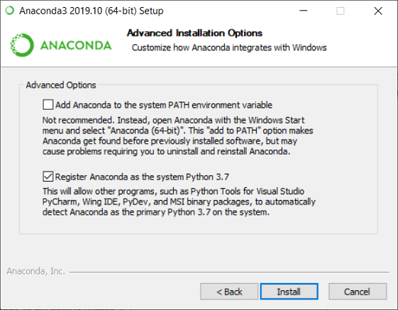 Anaconda installation options