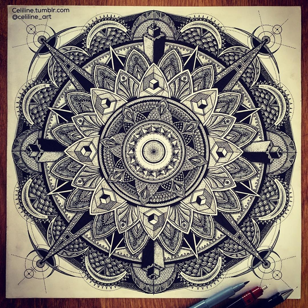 02-Celine-Silence-Lines-Art-Mandalas-Zentangles-and-Stippling-Drawings-www-designstack-co