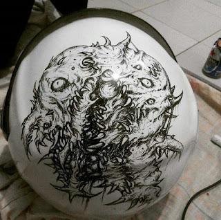 Illustration Art Drawing on helmet