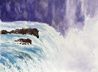 A water colour painting of Gulfoss waterfall on Fabriano Artistico paper