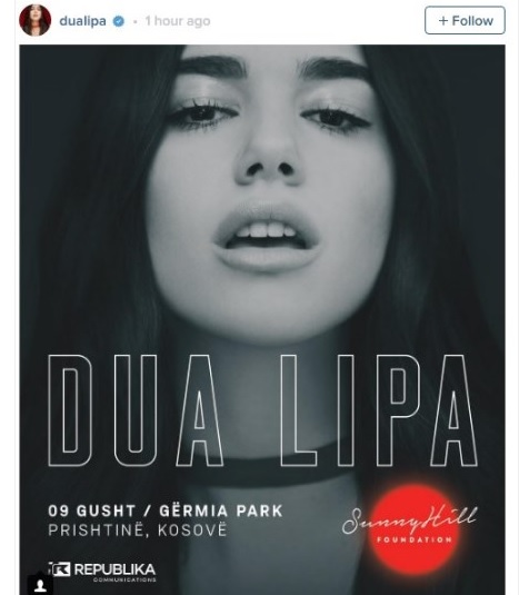 Dua Lipa to hold a concert in Pristina on August 9