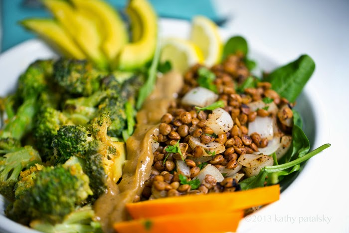 Savory Miso Broccoli + Spiced Lentil Power Plate! Vegan Fast Food