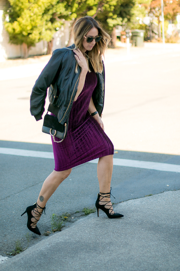 purple pleated velvet column dress parlor girl fall style