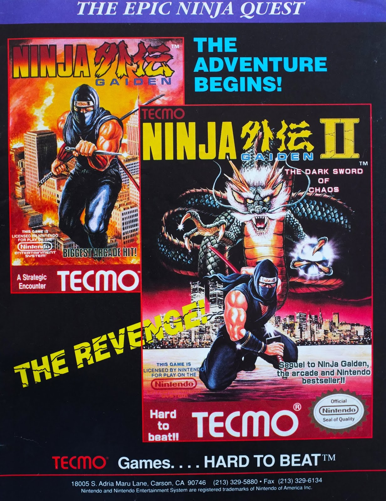 Retro Gaming Art Ninja Gaiden Ninja Gaiden Ii 1990