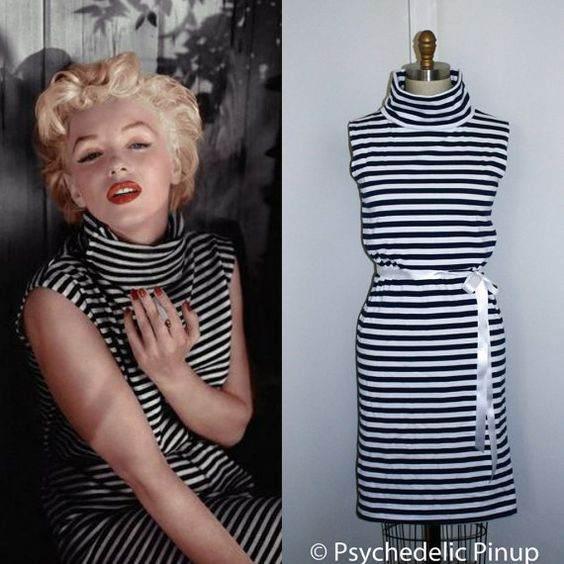 f387d07c89 Styled after the Shift Dress worn by Marilyn Monroe. Stripe cotton jersey  knit fabric
