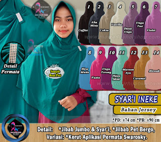 Jilbab syar'i bahan jersey polos variasi permata terbaru 2017