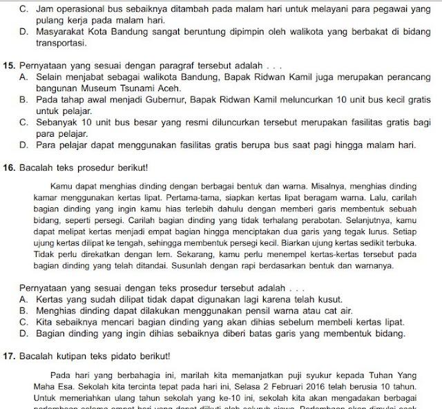 Contoh Soal Try Out Bahasa Indonesia Kelas 6 MI/SD