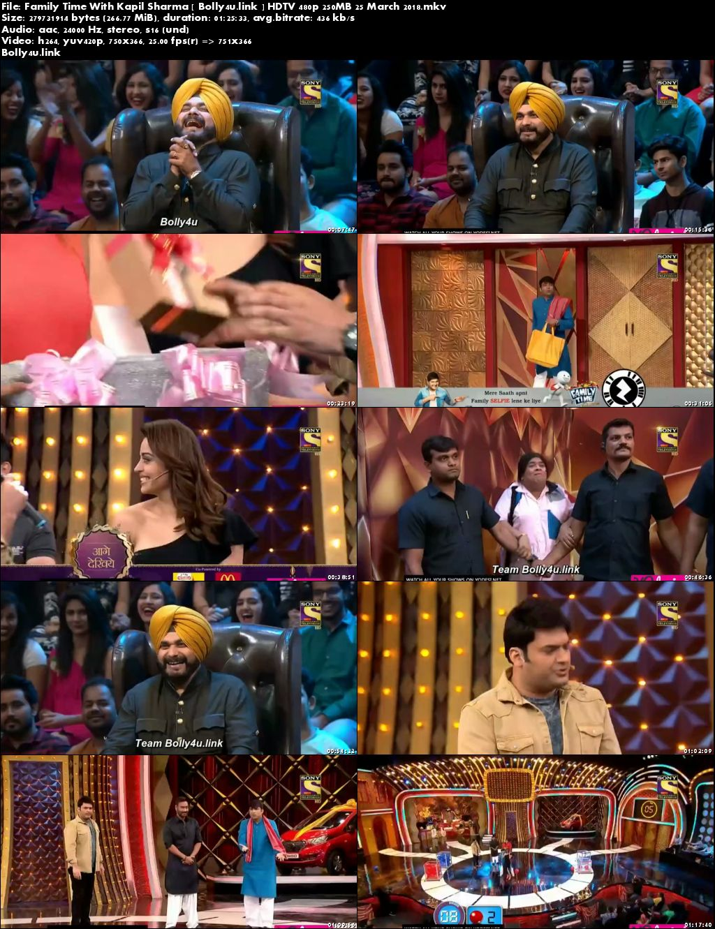 Family Time With Kapil Sharma HDTV 480p 250MB 25 March 2018 Download