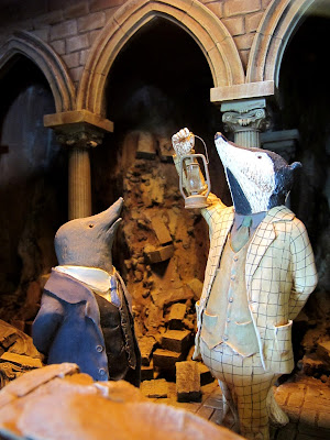 Detail of one of the one-twelth-scale Wind in the Willows scenes at Mr Badger's cafe.