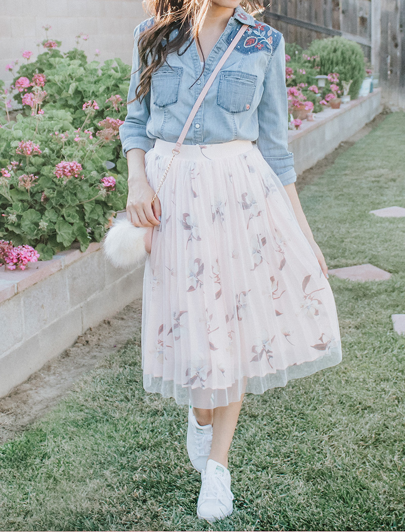 chambray shirt with blush tulle skirt modest outfit
