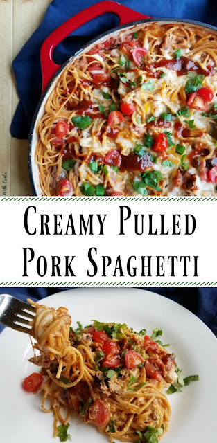 This Creamy Pulled Pork Spaghetti is a great way to rework your leftover pulled pork! It is a hearty one pan dinner that is sure to be a hit with your family.