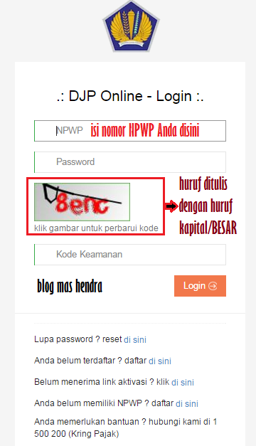 Tampilan Login DJP Online e-filing - Blog Mas Hendra