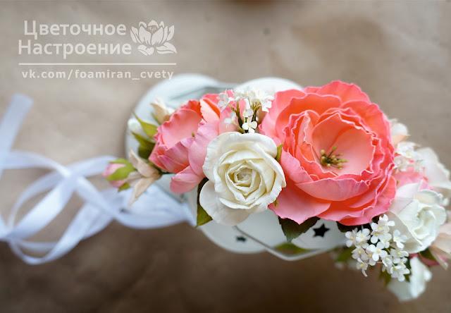 ободок с вадебный с цветами из фоамирана