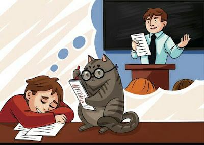 Siswa tidur di dalam kelas saat belajar