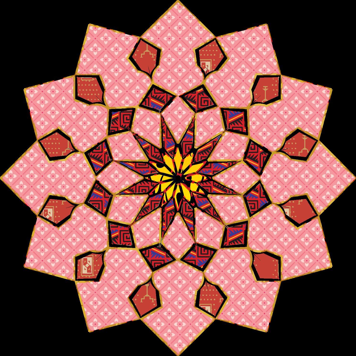 زخارف ملونة اسلامية للتصميم مفرغة Png