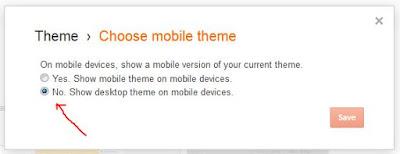 Pasang Template Blog Responsive Non-Aktifkan Template Mobile Bawaan Blogger.