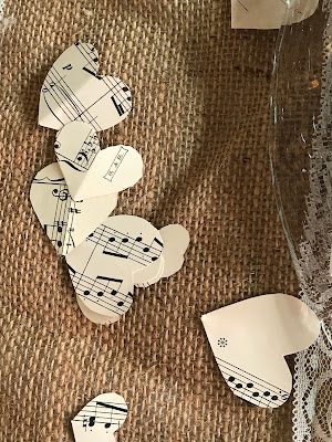 Music paper confetti, Table decor with Hessians, wood, grey, brown, green, lilac, Wedding abroad, Mountain wedding lake-side at the Riessersee Hotel Resort Bavaria, Germany, Garmisch-Partenkirchen